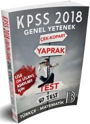 Benim Hocam Yayınları - 2018 KPSS Lise-Önlisans Genel Yetenek Çek Kopar Yaprak Test Benim Hocam Yayınları