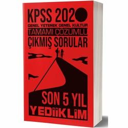 Yediiklim Yayınları - 2020 KPSS Genel Yetenek Genel Kültür Tamamı Çözümlü Son 5 Yıl Çıkmış Sorular Yediiklim Yayınları