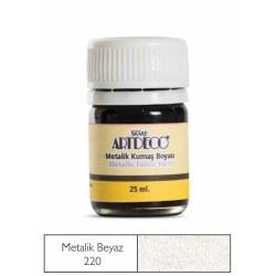 Artdeco - Artdeco Metalik Kumaş Boyası 25ml Beyaz 220