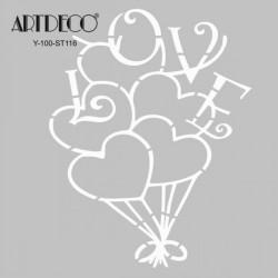 Artdeco - Artdeco Stencil 30x30cm Kalp Balon 116