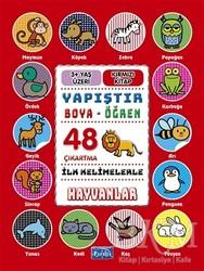 Parıltı Yayınları Boyama ve Çıkartma Kitapları - İlk Kelimelerle Hayvanlar - Yapıştır-Boya-Öğren