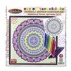 Artebella - Artebella Mandala Tuval Boyama Seti 32x32 Cm Km-03